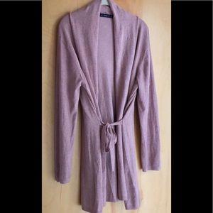 Zara Knit pink sand cardigan with waist tie XL